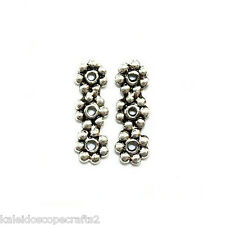 ANTIQUED SILVER PEWTER DAISY SPACER BEAD LINK 3 HOLE 12X4MM 6 BEADS PB46
