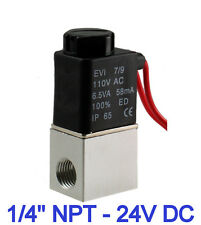 "1/4"" Inch Electric Air Water Solenoid Valve Normally Closed 24V DC New"