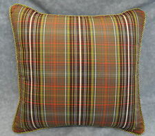 "Pillow made w Ralph Lauren Rock River Green & Brown Plaid Fabric 16"" trim cord"