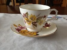 Vintage Duchess English Bone China Tea Cup and Saucer with Yellow Flowers