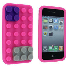 Pink Lego Silicone Skin Case Cover for iPhone 4 / 4S