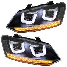 LED Scheinwerfer VW Polo 6R 6C Schwarz + Dynamischer Blinker Tagfahrlicht Optik