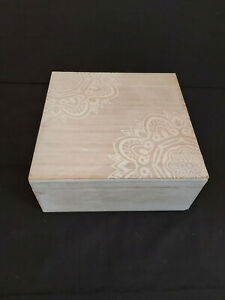 REDUCED - WOODEN BOX WITH WHITE DETAILING