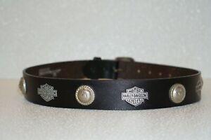 Vintage Harley-Davidson Black Genuine Leather Belt w/ Metal Medallions Size 28