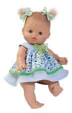 Paola Reina prendas para 34 cm Baby muñecas, vestido de verano azul estampadas