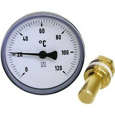 """Heizung Bimetall Thermometer Afriso 63 mm, mit Tauchhülse 40mm DN 1/2"""" 0 - 120°C"""