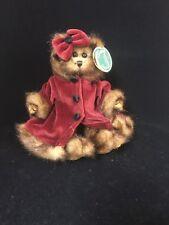 The Bearington Collection Chrissy Christmas Bear Burgundy Coat Bow