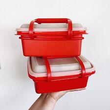Vintage Tupperware Pak N Carry Lunchbox 1254 In Paprika Orange