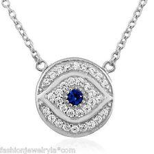 Round Hamsa Evil Eye Pendant Necklace Sterling Silver White Blue Crystals Cz