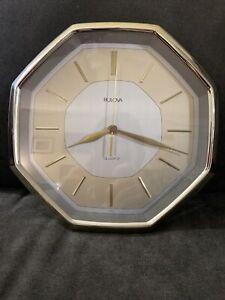 "Bulova 10.5"" Wall Clock Silver and Gold Octagon"