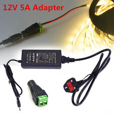 12V 5A Power Supply Transformer Adapter  For LED Strip AC100-240V TO DC UK Plug