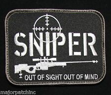 SNIPER OUT OF SIGHT MIND USA ARMY MILITARY TACTICAL SWAT OPS HOOK MORALE PATCH