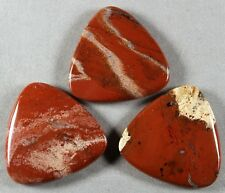 THREE (3) NATURAL RED RIVER LACE JASPER 40MM TRIANGLE DROP BEADS (102)