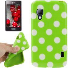 TPU Case für LG E455 Optimus L5 II Dual in grün mit weißen Punkten Etui Hülle