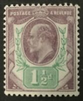 1902. 1 1/2d. DULL PURPLE AND GREEN. SG 221.  MOUNTED MINT