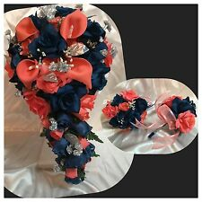 16 Piece Package Bridal Bouquet Silk Wedding Flowers Navy Blue Coral Calla Lily