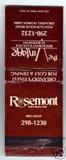Vintage Matchbook Rosemont Golf & Country Club, Vintage Restaurant Orlando FL
