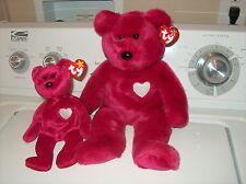 Ty  Valentina Buddy Bear and Ty Valentina Beanie Bear