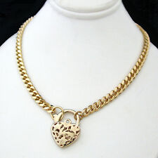 "24"" FILIGREE HEART LOCKET CLASP 4mm CURB Link 14K GOLD GL Necklace 