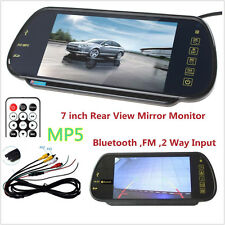 "HD 7"" Car TFT LCD Color Monitor Rear View Mirror With Bluetooth MP5/FM/USB Cam"