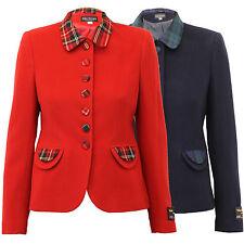 Ladies Wool Cashmere Coat Women Jacket Tartan Checked Blazer Lined Winter New