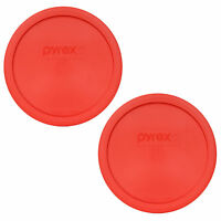 Pyrex 323-PC 1.5qt Red Round Plastic Storage Lid Cover 2PK for Glass Mixing Bowl