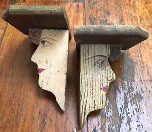 Set of 2 Antique Vintage Hand Painted Folk Art Primitive Display Shelves Sconces