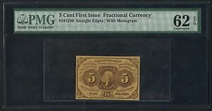 FR1230 5¢ 1ST ISSUE FRACTIONAL CURRENCY PMG 62 EPQ UNC CV $300 BT8049