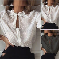 Women Ladies Lace Up V Neck Long Sleeve Shirt Dot Button Down Casual Tops Blouse