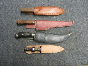 LOT OF 4 FIGHTING KNIVES W/ SHEATHS-RUSSELL, MEXICAN, KUTMASTER, INDIAN