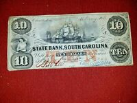 1860 $10 Note~ State Bank South Carolina Charleston w/ Sailing Ships