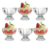 6 x Ice Cream Sundae Glass Footed Dessert Cocktail Fruit Pudding Dishes Trifle