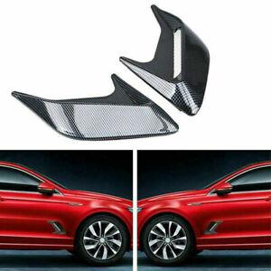 2x Car Air Flow Intake Hood Scoop Bonnet Vent Cover Carbon Fiber Decor Universal