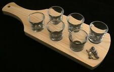 Ice Hockey Gollie Set of 6 Shot Glasses with Wooden Paddle Tray Holder