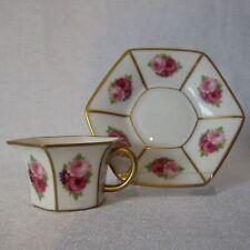 Art Deco Mokkatasse mit Untertasse Rosenthal mit Rosendekor und Gold