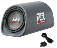 """MTX AUDIO RT8PT 8"""" 240W Car Loaded Subwoofer Enclosure Amplified Tube Box Vented"""