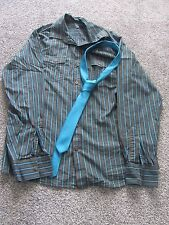 Longs Sleeve Teal & Grey Striped Shirt with Teal Tie