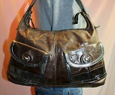 TANO Medium Brown Silver Leather Shoulder Hobo Tote Satchel Slouch Purse Bag