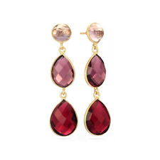 Betty Carre Elegant Simulated Amethyst & Ruby 3-Stone 18K Gold Plated Earrings