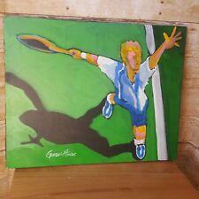 "Tennis Club Oil Painting on Canvas - Signed Original Art by Gordie Hines 20""x16"""