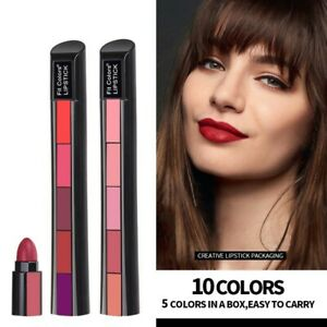 5 Colors in 1 Matte Velvet Lipstick Non-Stick Cup Red Nude Long Lasting Portable