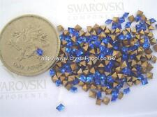 24 x Swarovski 2.4mm x 2.4mm Sapphire gold-foiled squares