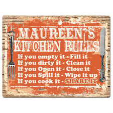 Ppkr0226 Maureen'S Kitchen Rules Plate Chic Sign Home Kitchen Decor Gift ideas