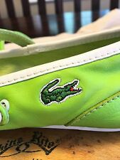 LACOSTE Flat Leather Logo Shoes for Women sz 7 Lime Avocado Green PIRQUET EUC