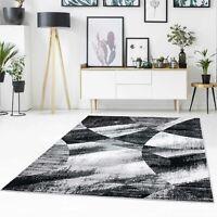 Teppich Flachflor Modern Abstrakt Meliert Patchwork Schwarz, Grau für Wohnzimmer
