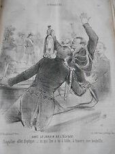 Caricature 1850 Dans les jardins de l'élysée effet d'optique à travers Bouteille