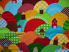 CLEARANCE   FQ BRIGHT COLOURFUL PATCHWORK POLKA HILLS HOUSES FARM FABRIC