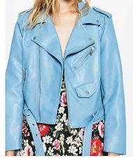New Zara Cropped Faux Leather Moto Jacket Sky Blue Size Large Bloggers Fav