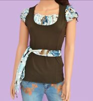 NWT Brown Blue Polyester Spandex Short Sleeve Pullover Blouse Shirt Top XS-S-M-L