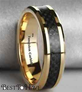 New Boxed Gold Gp Tungsten Carbide with Carbon Inlay Mens Wedding Band Ring 6mm